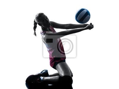 Frau Volleyballer isoliert Silhouette