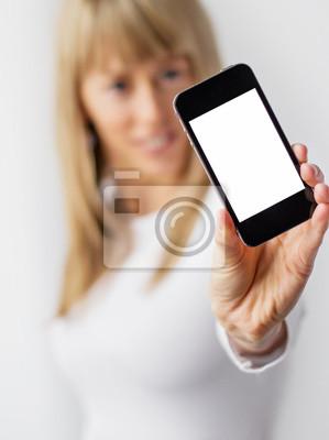 Fototapete Frau zeigt leere Handy