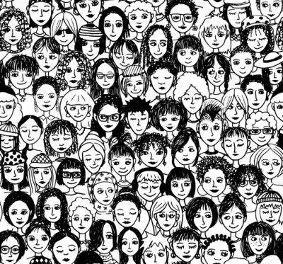 Fototapete Frauen - handgezeichnetes Hintergrundmuster / Endlosmuster Mit vielen unterschiedlichen Frauen (schwarz weiß Version)