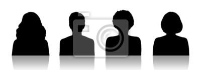 Fototapete Frauen-ID Silhouette Porträts Set 1