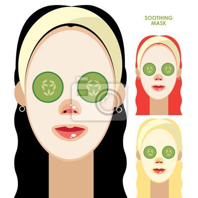 Frauen Mit Gesichtsmaske Beruhigende Fototapete Fototapeten