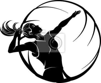 Frauen-Volleyball im Ball-Design