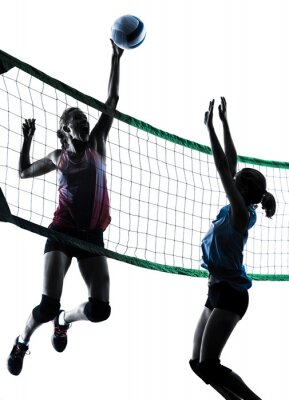 Frauen-Volleyball-Spieler isoliert Silhouette