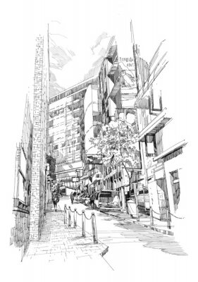 Fototapete free hand sketch of the old alley of the city