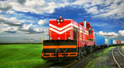Fototapete freight train with space for text