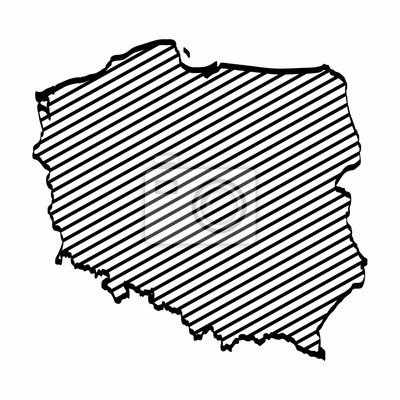Polen Karte Umriss.Fototapete Freihandiges Zeichnen Der Polen Kartenentwurfsgraphik Auf Weissem