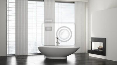 Freistehende Badewanne In Badezimmer Mit Kamin Fototapete