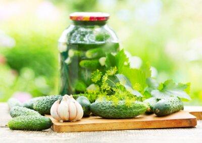 Fototapete fresh and pickled cucumbers