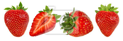 Fototapete Fresh strawberry isolated on white background with clipping path