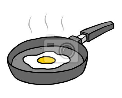 Fototapete fried egg in flying pan
