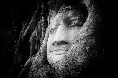 Fototapete Friedliche und ruhige Gesicht des Buddha auf alten Stein geschnitzt