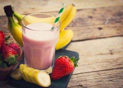 Fototapete Frische Erdbeere und Bananen-Smoothie