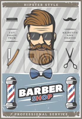 Friseur Hipster Weinlese Plakat Fototapete Fototapeten Hipster
