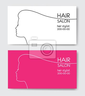 Friseur Visitenkarten Mit Schönen Frau Gesicht Sil