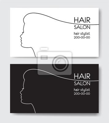 Friseursalon Visitenkarten Vorlagen Mit Frau Silhouette