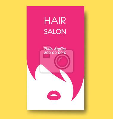 Friseursalon Visitenkarten Vorlagen Mit Rosa Haaren Und Rosa