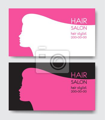 Friseursalon Visitenkarten Vorlagen Mit Schönen Frau Gesicht
