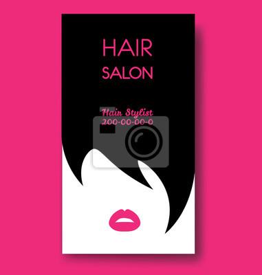 Friseursalon Visitenkarten Vorlagen Mit Schwarzem Haar Und