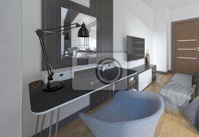 Frisiertisch und stuhl in einem modernen schlafzimmer ...