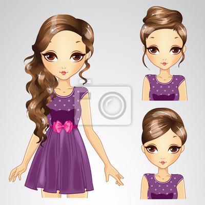 Frisur Set Mädchen In Lila Kleid Fototapete Fototapeten