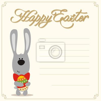 Frohe Ostern Karte.Fototapete Frohe Ostern Funny Osterhase Mit Osterei In Handen Ostern Karte