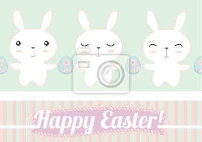 Frohe Ostern Niedliche Häschen Und Eier Muster Hintergrund