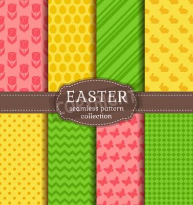 Frohe Ostern Set Von Niedlichen Urlaub Hintergründe Sammlung
