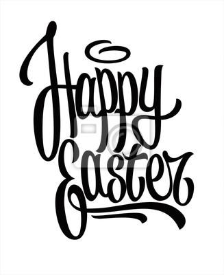 Frohe Ostern Hand gezeichnet Beschriftung. Vektor
