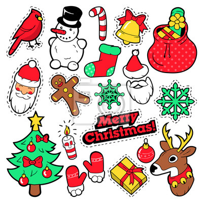 Frohe Weihnachten Aufkleber.Fototapete Frohe Weihnachten Abzeichen Aufnäher Aufkleber Weihnachtsmann