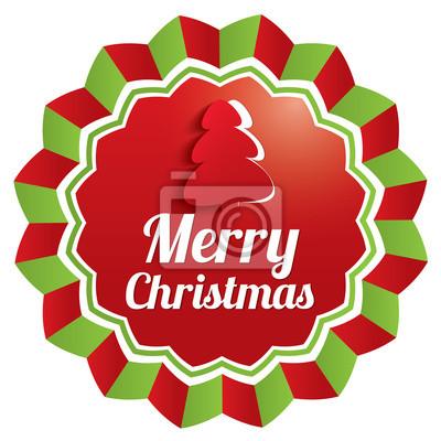 Frohe Weihnachten Aufkleber.Fototapete Frohe Weihnachten Aufkleber Weihnachten Label