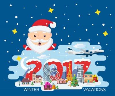 Frohe Weihnachten Flugzeug.Fototapete Frohe Weihnachten Banner In Flachen Stil Reisen In Der Zeit