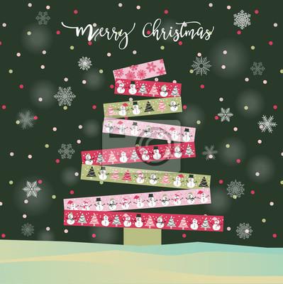 Frohe Weihnachten Band.Fototapete Frohe Weihnachten Baum Und Happy New Year Karte Mit Rosa Schleife