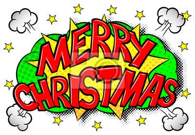Comic Frohe Weihnachten.Fototapete Frohe Weihnachten Comic Effekt Blase