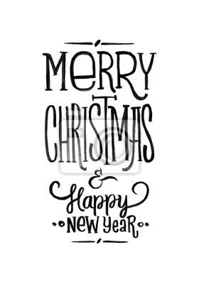 Weihnachten Schwarz Weiß Bilder.Fototapete Frohe Weihnachten Frohes Neues Jahr Retro Vektor Poster Schwarz Weiß Monochrom Design