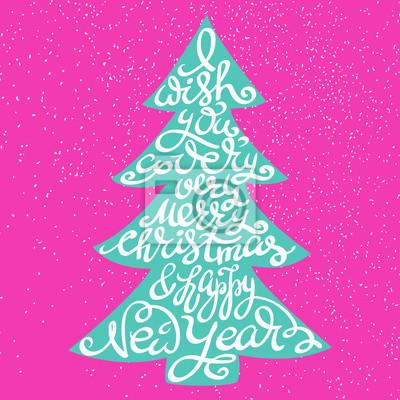 Frohe weihnachten frohes neues jahr schriftzug fototapete ...