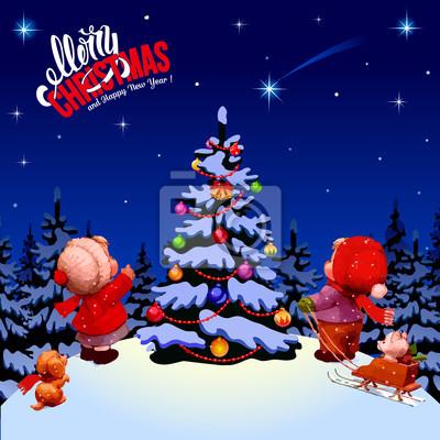 Weihnachten Kinder.Fototapete Frohe Weihnachten Frohes Neues Jahr Winterlandschaft Die Kinder