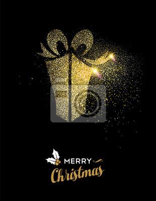 Frohe Weihnachten Glitzer.Fototapete Frohe Weihnachten Gold Glitzer Geschenkbox Urlaub Karte