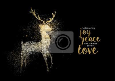 Frohe Weihnachten Glitzer.Fototapete Frohe Weihnachten Gold Glitzer Hirsch Urlaub Karte