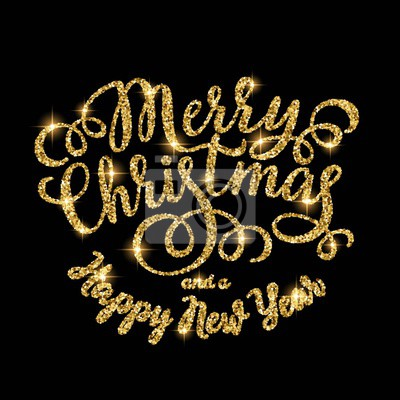 Frohe Weihnachten Gold.Fototapete Frohe Weihnachten Gold Glitzernde Hand Beschriftung Inschrift