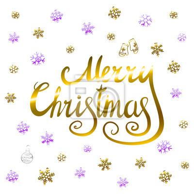 Frohe Weihnachten Gold.Fototapete Frohe Weihnachten Gold Glitzernden Schriftzug Design Mit Schneeflocken Muster