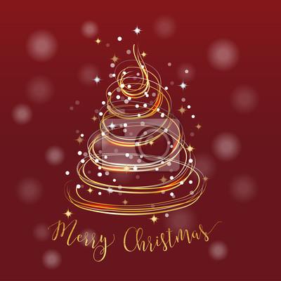 Frohe Weihnachten Text Karte.Fototapete Frohe Weihnachten Goldene Baum Karte Mit Gold Glanzend Kurve
