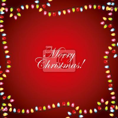 Frohe Weihnachten Rahmen.Fototapete Frohe Weihnachten Grusskarte Girlande Lichter Rahmen Rot Dekoration