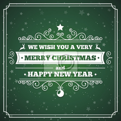 Frohe weihnachten grußkarte mit vintage-label und rahmen fototapete ...