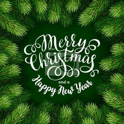 Frohe Weihnachten Rahmen.Fototapete Frohe Weihnachten Hand Beschriftung Inschrift Mit Rahmen Aus