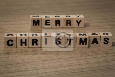 Frohe Weihnachten in Holzwürfel