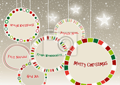 Weihnachtsgrüße In Verschiedenen Sprachen.Fototapete Frohe Weihnachten In Verschiedenen Sprachen