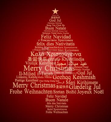Frohe Weihnachten Auf Allen Sprachen.Fototapete Frohe Weihnachten In Verschiedenen Sprachen Bilden Einen Weihnachtsbaum