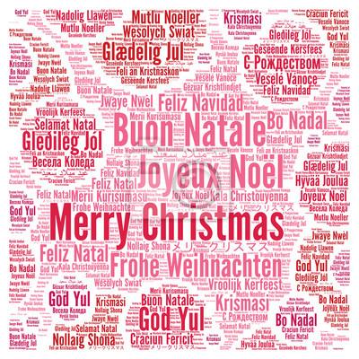 Frohe Weihnachten Auf Allen Sprachen.Fototapete Frohe Weihnachten In Verschiedenen Sprachen Wort Wolke