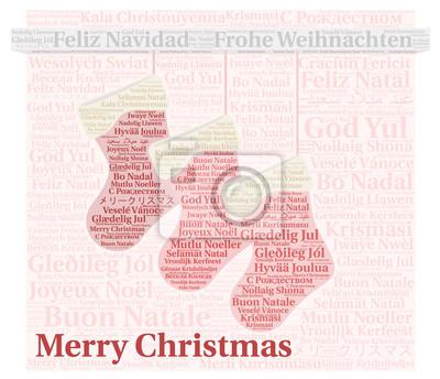 Frohe Weihnachten In Vielen Sprachen.Fototapete Frohe Weihnachten In Verschiedenen Sprachen Wort Wolke