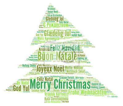 Frohe Weihnachten In Verschiedenen Sprachen.Fototapete Frohe Weihnachten In Verschiedenen Sprachen Wortwolke